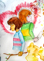 Chara and frisk dilemma by atomicheartlight