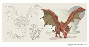 Tiger manticore illustration scetch by snikers15