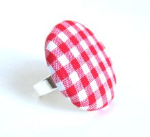 Large red gingham button ring white plaid tartan by KooKooCraft