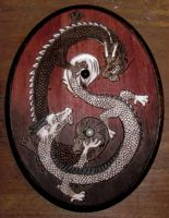 Yin Yang Dragons plaque woodburning by HollyRoseBriar