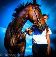 girl and horse by dressageart13