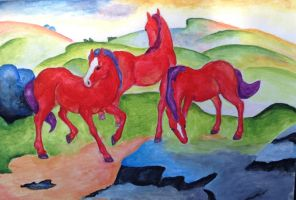 Reproduction of 'The Red Horses' by Franz Marc by Sofia-the-Dreamer