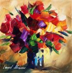 Bouquet for sweetheart by Leonid Afremov by Leonidafremov