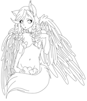 Kitsune Angel Lineart by Some-Wench