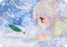 Snow bunny and curious kitten by yui-tohma