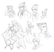 Phoenix Wright Doodles by Nijuuni