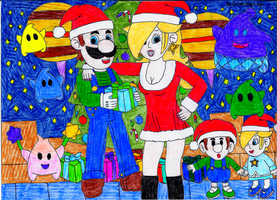 Merry Christmas from Luigi and Rosalina by GreenDayLuigi
