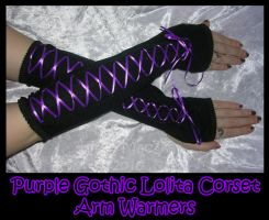 Purple Goth Lolita Arm Warmers by ZenAndCoffee