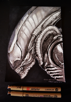 Inktober day 21 - Giger's Alien by Isvoc