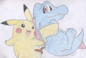 Pikachu and Totodile by PikachuHolo