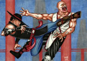 Kung Lao vs Baraka by Grace-Zed