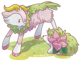 Shiny Skiddo and Shaymin by albinosharky