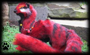 SOLD Igneous the lava ferret poseable art doll by CreaturesofNat