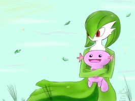 Gardevoir and Shiny Wooper (Requested) by F-Stormer-3000