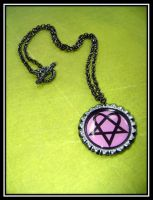 Pink Heartagram Necklace by MissOctober13