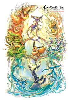 Eevee - Eeveelutions (Pokemon) by Rachta