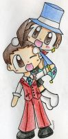 Chibi Apollo and Trucy by Mushroom-Cookie