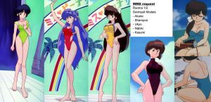 MMD Request: Ranma Girls Swimsuit Models by Gradyz033