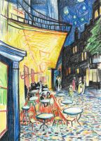 Vincent Van Goghs Night Terrace Cafe in Crayon by johnstiles