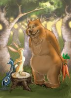 Bear and Hare Share by SYoshiko
