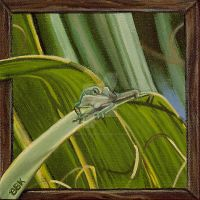 Green Anole on Palm - mini by bbuckelskotyk