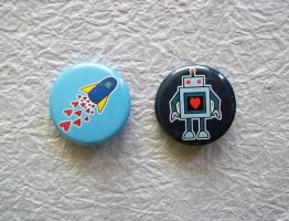 Geeky Love Pin-back Buttons by Sacari