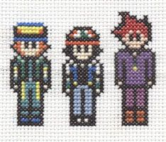 Pokemon boys cross stitch by Lil-Samuu