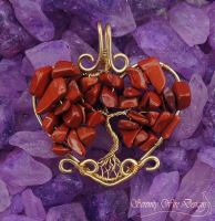 Red Jasper Tree of Life Pendant by SerenityWireDesigns