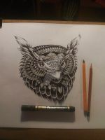 owl ink design by Kszesiu