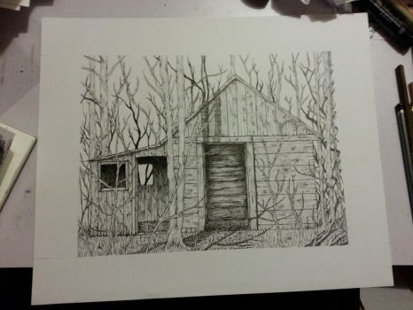 Cabin (ink) by Defaced-Fiend