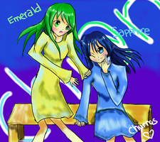 Sapphire and Emerald, friend OC by Emaperatriz