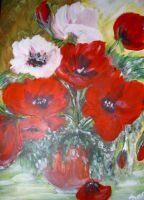 Red and White Poppies by HerzPaeonia