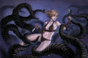 Tentacle Fight by Kakatekoyi