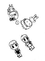Chibi Wesker and Barry Doodle by Abbyg2391