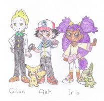 Ash, Iris and Cilan by TheAwesomeWorld