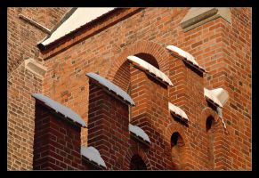 Brick On Brick And A Touch Of Snow by skarzynscy