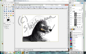 GIMP Painting WIP by valhyena