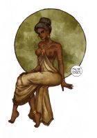 Lady in Mucha dress by LaTaupinette