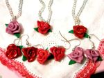 Roses earrings and necklaces by CreamberryAccesory