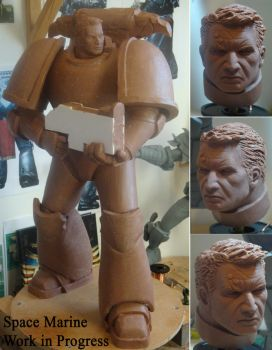 Space Marine work in progress by MWhiteSculpting
