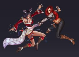 League of Legends : Ahri X Katarina by papillonstudio