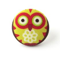 Ring big large owl bird orange green yellow funny by KooKooCraft