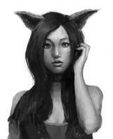 Ahri Portrait Sketch by Pungyeon