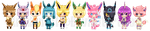 Shota Eeveelutions + Skitty by Amakai411