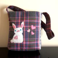 cute kawaii plaid bunny bag by yael360