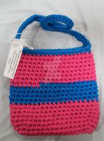 Pink and Blue Stripe Tote by yarndiva