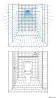 drawing bathroom from 1 point perspective by JacobMainland