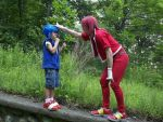 Classic Sonic VS Knuckles by xProfAwesome