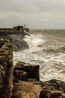 Rough Seas Overlooking Porthcawl Town Beach Aug 12 by welshrocker