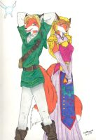 Zelda and Link: Anthrofied by OmegaDevin
